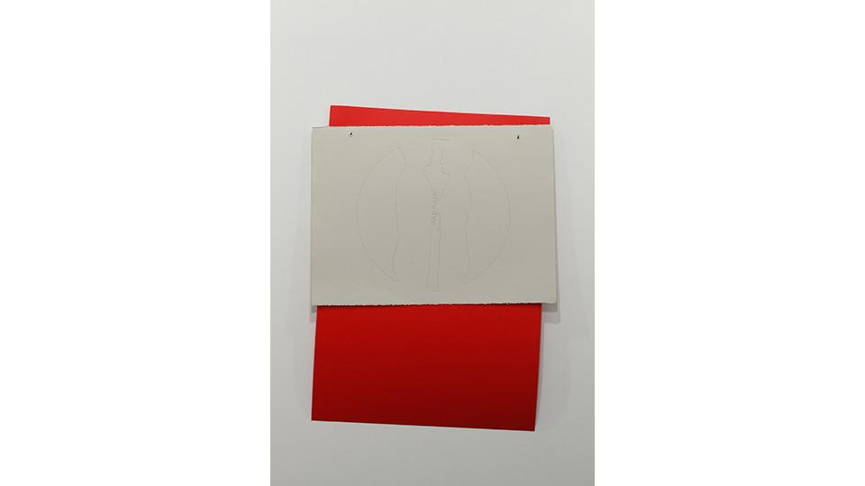 defense mechanism (5), 2012, embroidery floss, rag paper (57 x 77 cm), rag board (100 x 70 cm), grommets, 100 x 79 cm