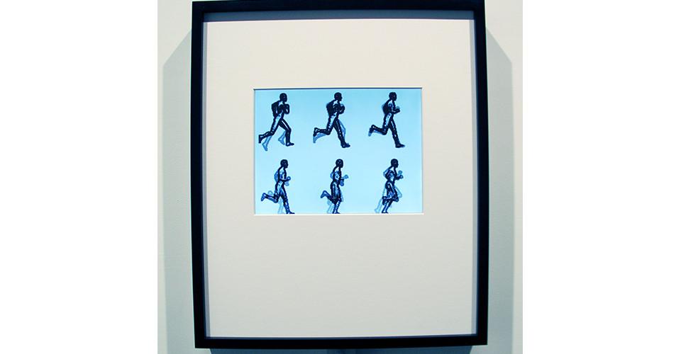 Hexed Running Man, 2005, aluminum, PVC, G-10, LCD, custom electronics, custom software, ebonized maple, denglas, 68.5 x 53 x 7.6 cm