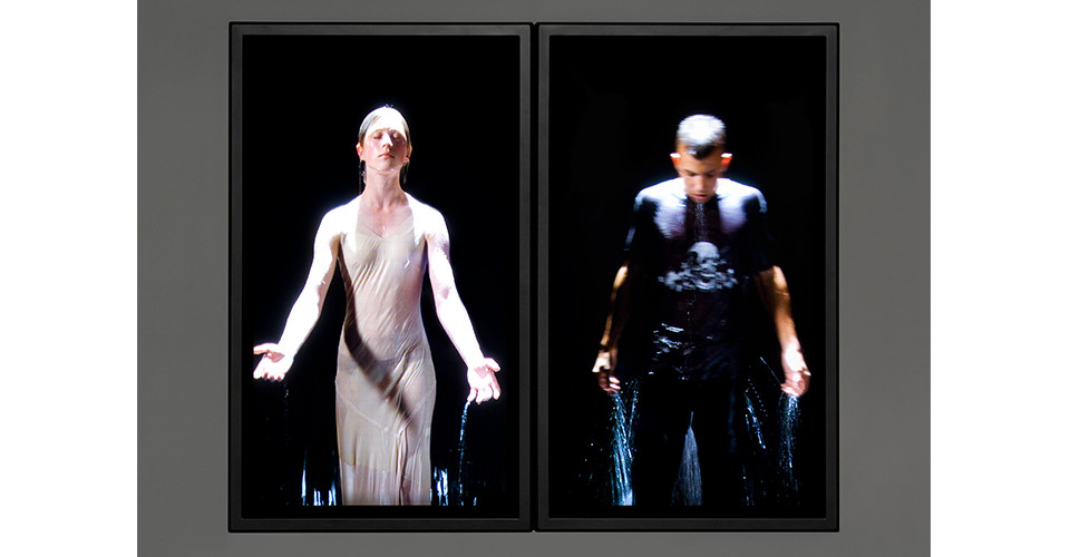 Bill Viola, The Innocents, 2007, color high-definition video diptych on plasma displays mounted on wall, 91.3 x 111.8 x 10.2 cm, performers Anika Ballent, Andrei Viola, 649 mi