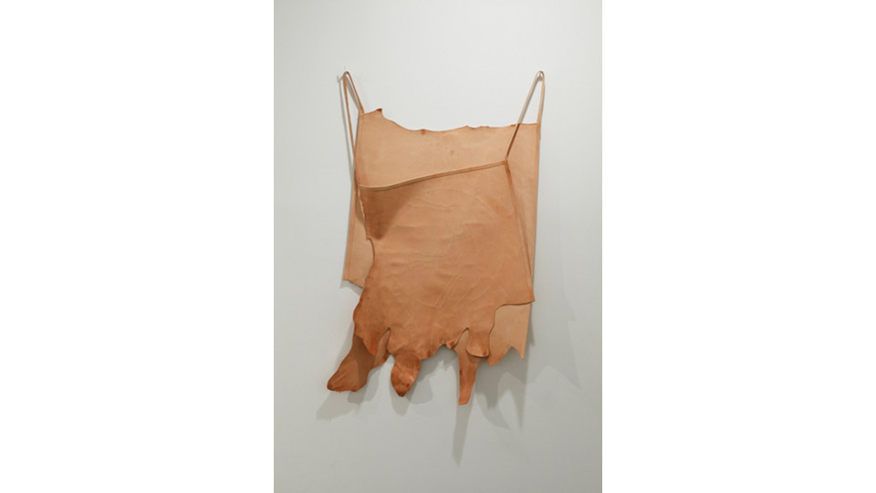 defense mechanism 4, 2012, embroidery floss, leather, 121 x 78 cm