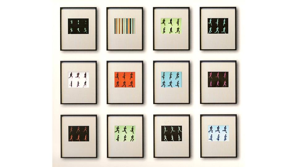 Alan Rath, Hexed Running Man, 2005, aluminum, PVC, G-10, LCD(s), custom electronics, custom software, ebonized maple, denglas, 27 x 21 x 3 cm