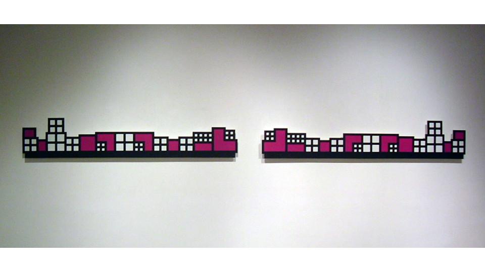 Organic Geometry, 2004, poly urethane on wood, 28 x 152 cm each