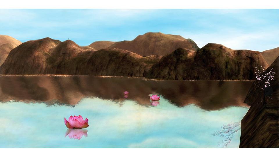 Lee, Sang-Hyun, Fishing at Lotus and Peach Blossom Paradise, 2007, lambda digital c-print, 220 x 110 cm