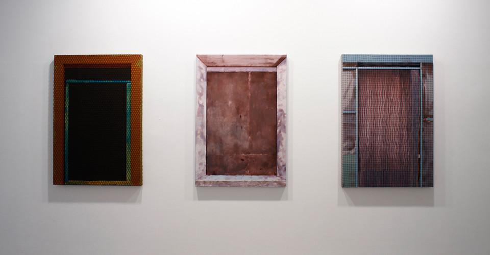 La Porte-132, 2009, acrylic color, iron mesh on canvas, 117 x 80.5 x 5 cm
