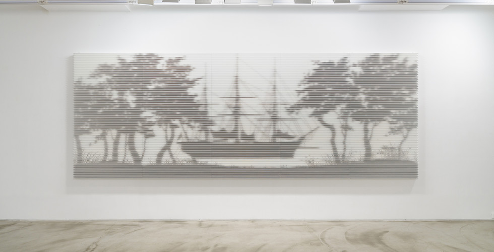Ganghwado_Shadow across Time, 2019, MDF, plywood ground coffee, varnish, 180 x 500 x 7.4 cm
