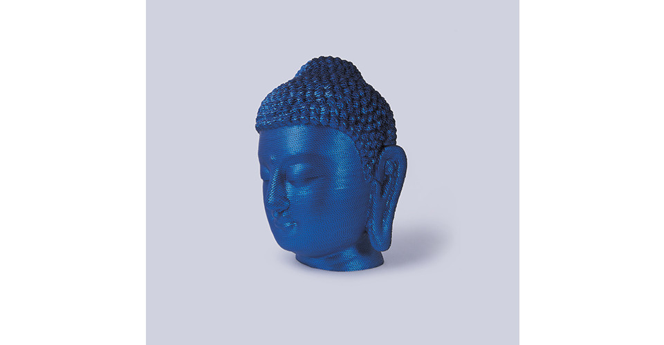 For the Worshipers, 2005, sequins on Buddha head of polyester resin and fiberglass, 55.5 x 34.5 x 33 cm