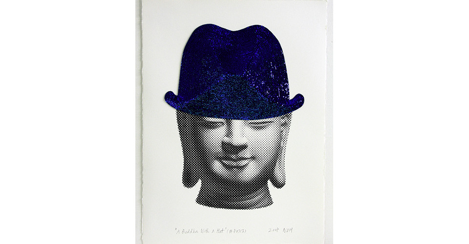 A Buddha With A Hat, 2008, sequins and silkscreen on paper, 76 x 56 cm