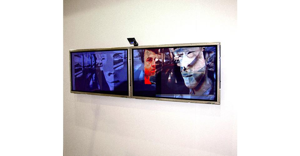 Lincoln Schatz, Branch, 2006, generative video installation, camera, custom software, computer, plasma screen, variable dimension, Photo Courtesy Bitforms gallery, NYC