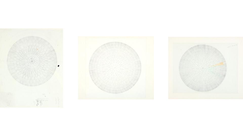 경첩을 위한 드로잉 (Drawing for Hinges), 1996, pencil on paper, 48 x 39 cm, 46 x 46 cm, 46 x 39 cm