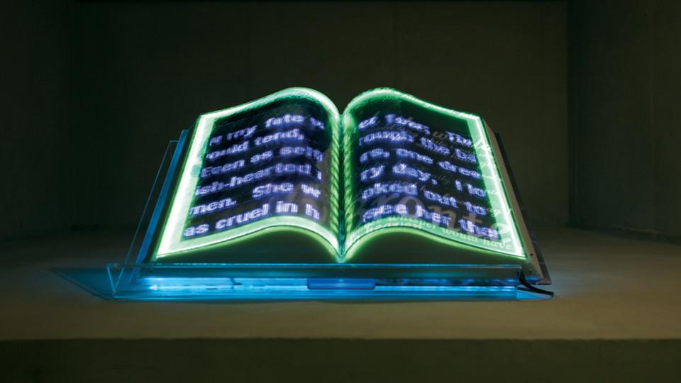Hyper Open Book (Emily Bronte), 2011, LED lights, resin encasement, custom electronics