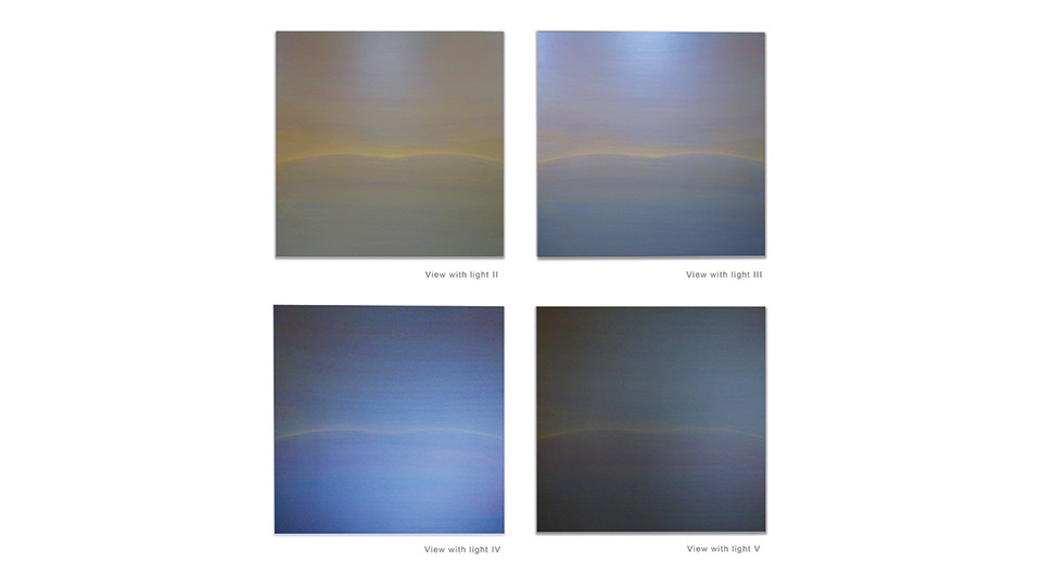 Beyond the Sunset, 2011, acrylic on wood panel, 92 x 92 cm each