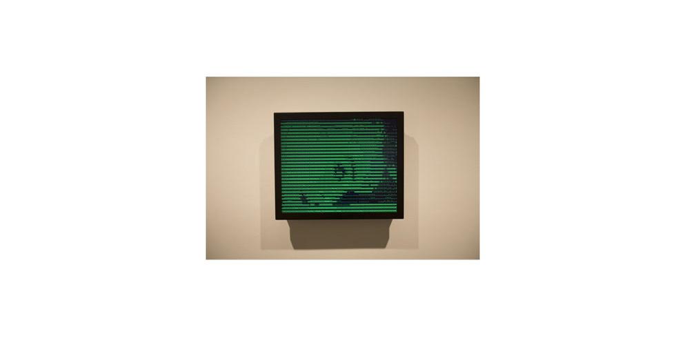 Vuk Cosic, ASCII History of Moving Image (Psycho), 1999, JAVA applet, hard drive, monitors, 13 12 x 16 12 x 3, edition of 4