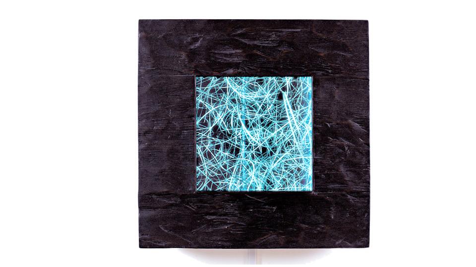 Choi, Sun-Myoung, Rhizome, 2005, digital production, customs electronics, 100-year-old maple, 63 x 63 cm