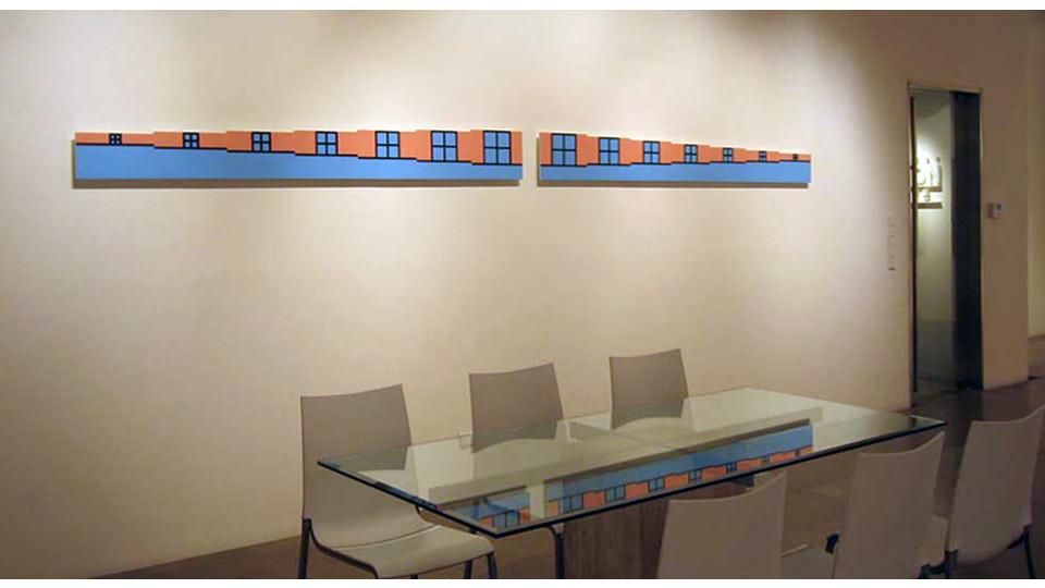 Organic Geometry, 2004, Poly urethane on wood, 24 x 217 cm each