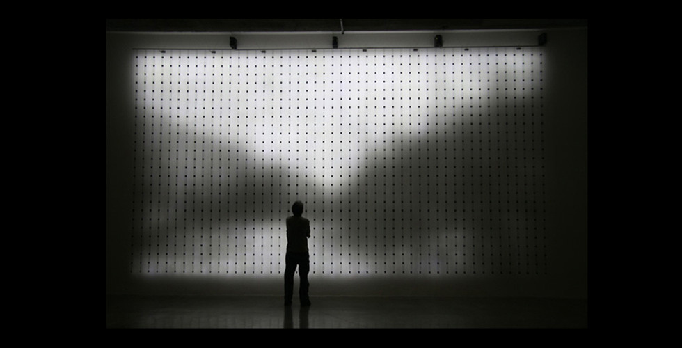 Reconstruction #4 Detail, 2005, custom electronics, LED panel, cast resin screen, 26 x 37 x 9 cm
