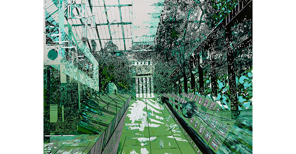 Kang, Yoo-Jin, TATE in the Garden, 2007, enamel and acrylic on canvas, 162 x 130 cm