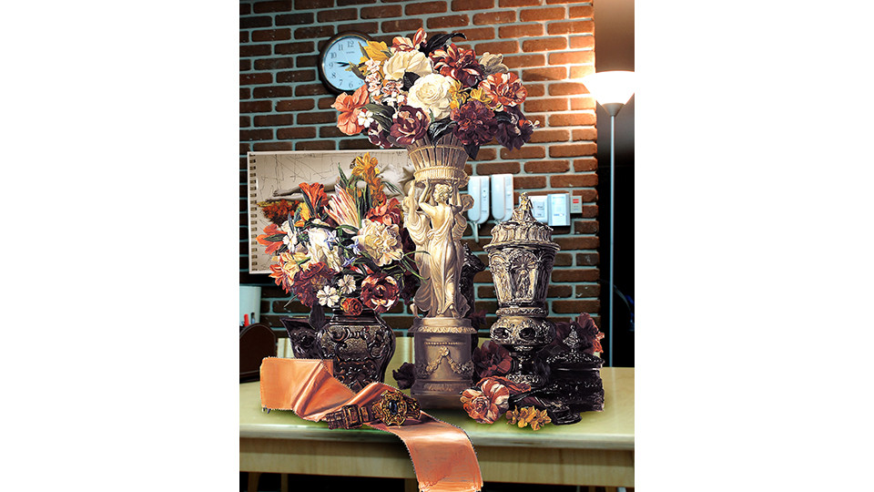"""Bae, Joon-Sung, """"The Costume of Painter"""" ? Still life with human image vase & A. Tadema, 2007, lenticular, 120 x 178 cm"""