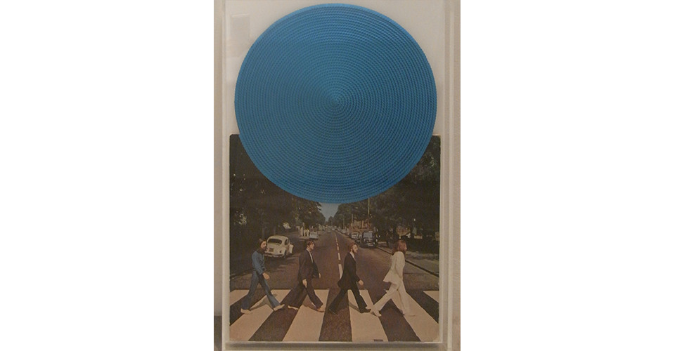 Recording - The Beatles, 2010, jacket and sequins on disk, 31 x 31 cm, Φ31 cm