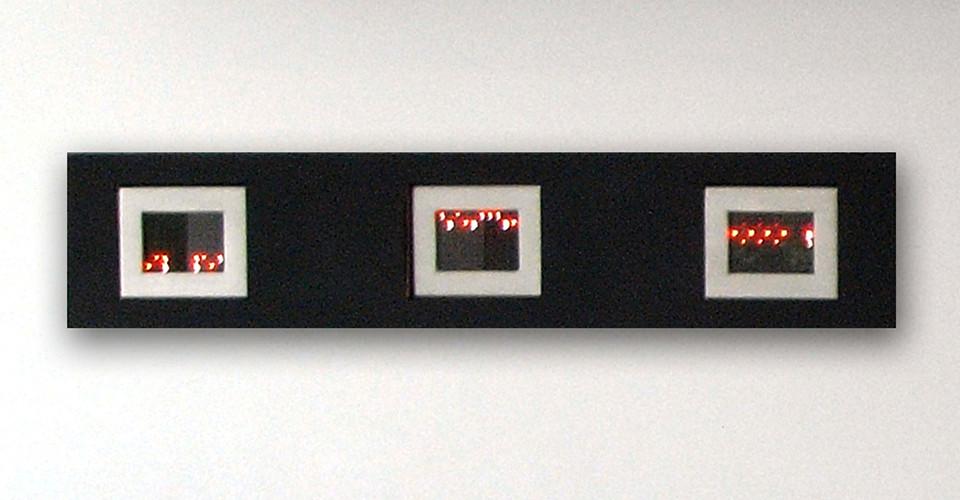 Jenny Holzer, Mini Matrix, Text selections from Truisms 1977-79, 2004, 3 mini LED signs, 10.1 x 12.7 x 3.8 cm each