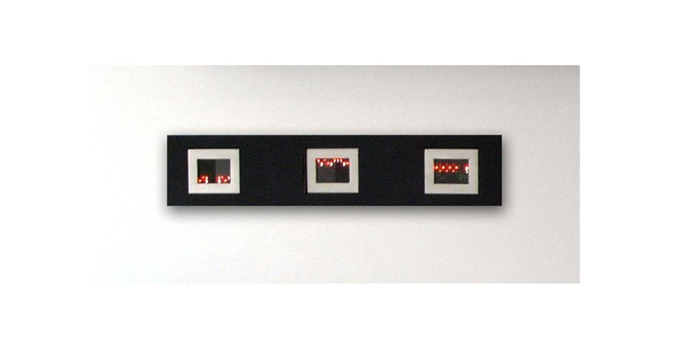 Mini Matrix, Text Selections from Truisms, 1977-79, 2004, 3 mini LED signs, 10.1 x 12.7 x 3.8 cm each