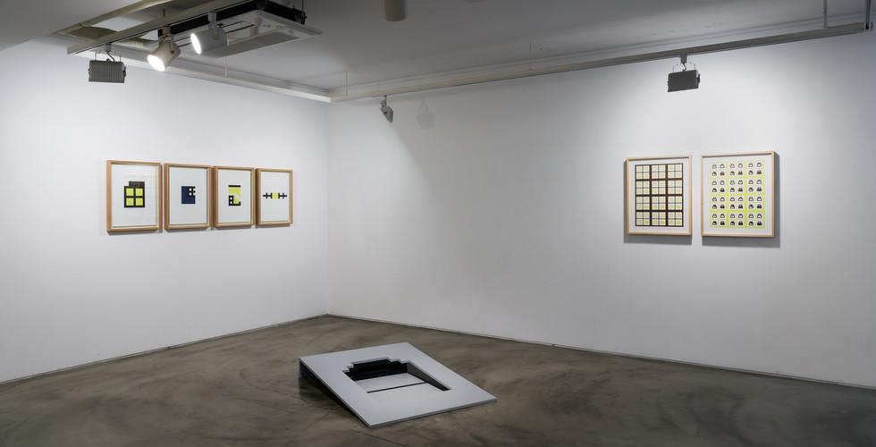Hong Seung-Hye, Debris, 2008, wood framed pigment print on paper, 50x35cm (each)(left), Organic Geometry, 2018, wood framed pigment print on paper, 62.5x50cm (each)(right), About Frame, 2014, po