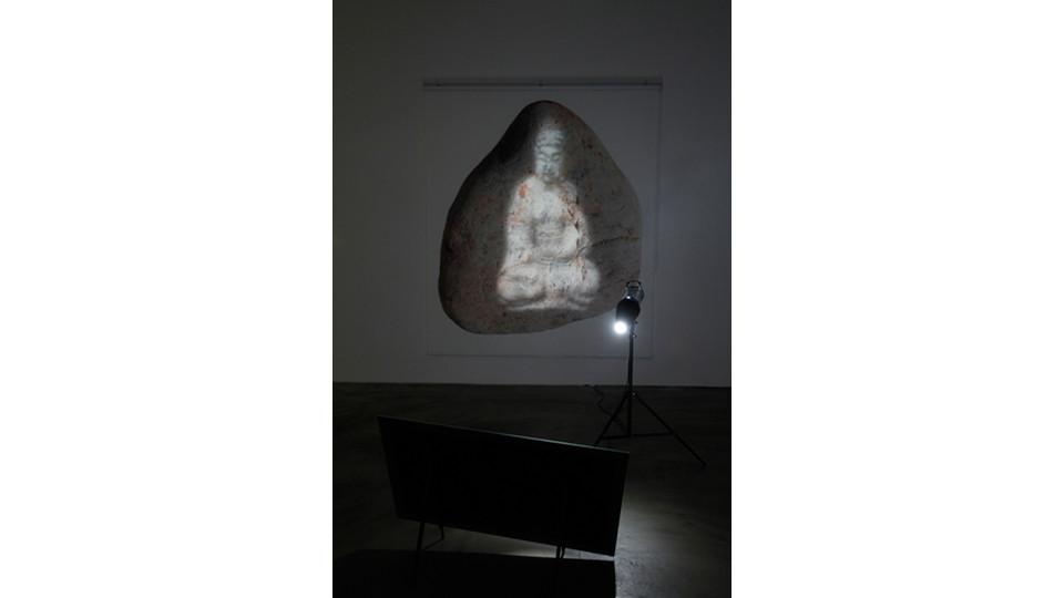 Loose Buddha, 2013, roll screen, yupo print, mirror, glass color, metal, lighting, dimensions variable