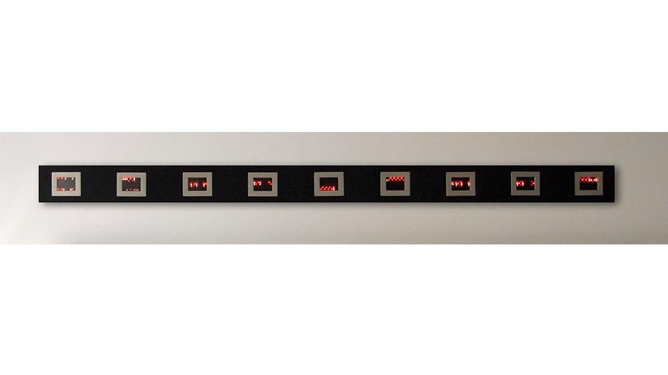 Jenny Holzer, Mini Matrix, Text selections from Truisms 1977-79, 2004, 9 mini LED signs, 10.1 x 12.7 x 3.8 cm each