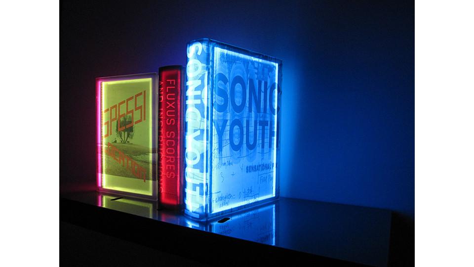 Lighting Books, 2009, media installation, LED lighting, plastic box