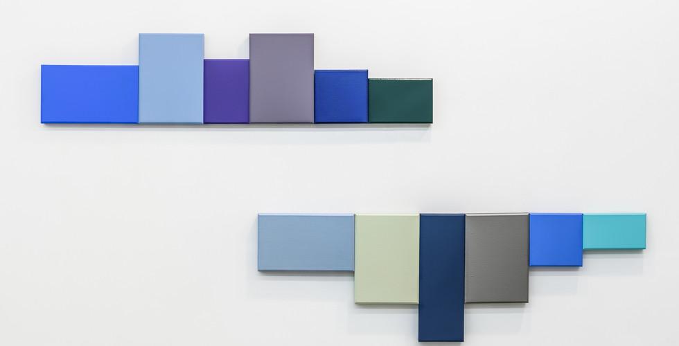 Kim Taiho, Chiaksan, 2016, acrylic on canvas, 182 x 42 cm (above), 182 x 60 cm (below)