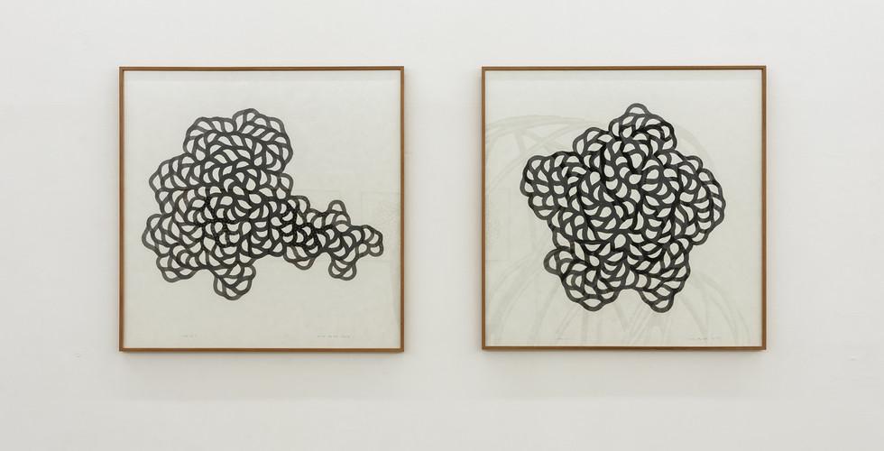 기억의 회로를 위한 드로잉, 2017, 종이에 먹, 91.5x91.5cm each