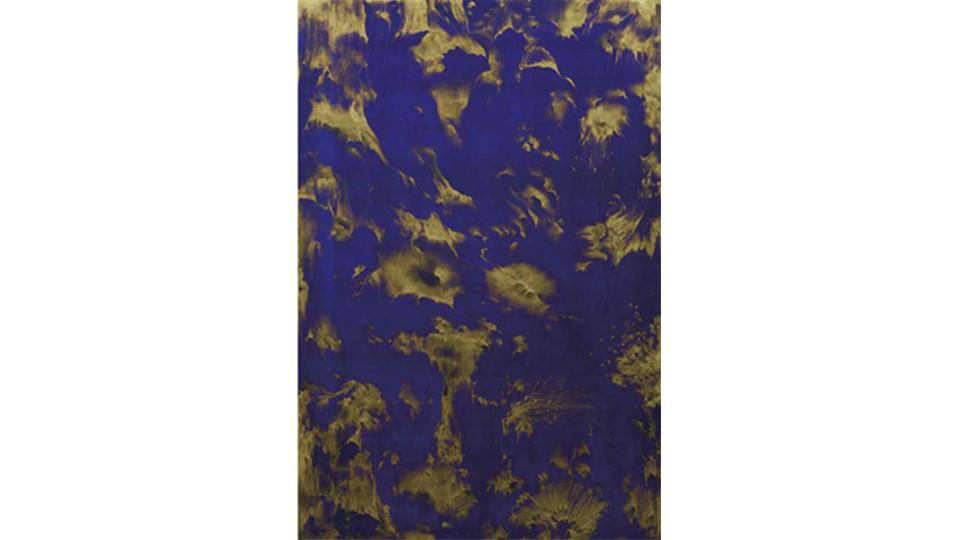 Secret Garden #266_ultramarine blue, gold, 2011, acrylics, oil stick on canvas, 146 x 98 cm