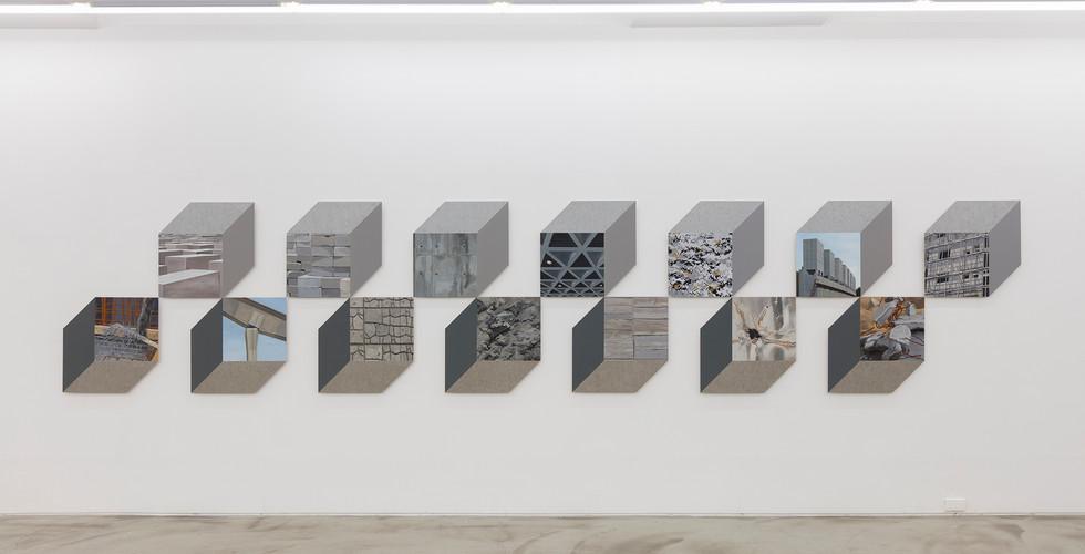Concrete Cube 콘크리트 큐브, 2016, oil and self adhesive vinyl on aluminium sheet, 60x60cm each