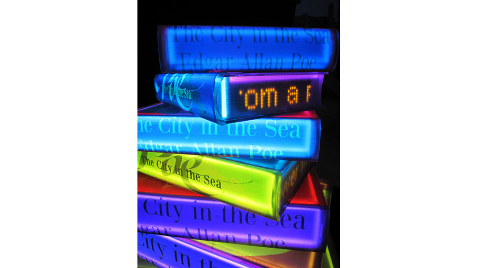 The City in the Sea by Edgar Allan poe, 2011, acrylic on canvas, LED lighting, 116.7 x 92 cm