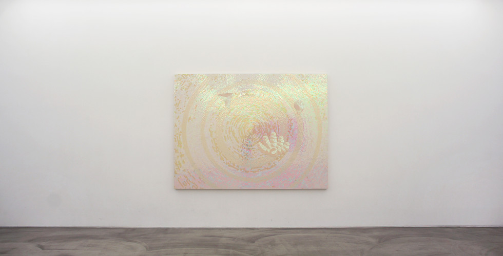 Noh, Sang-Kyoon, The Palm Reader, 1997-98, sequins on canvas, 198 x 264 cm
