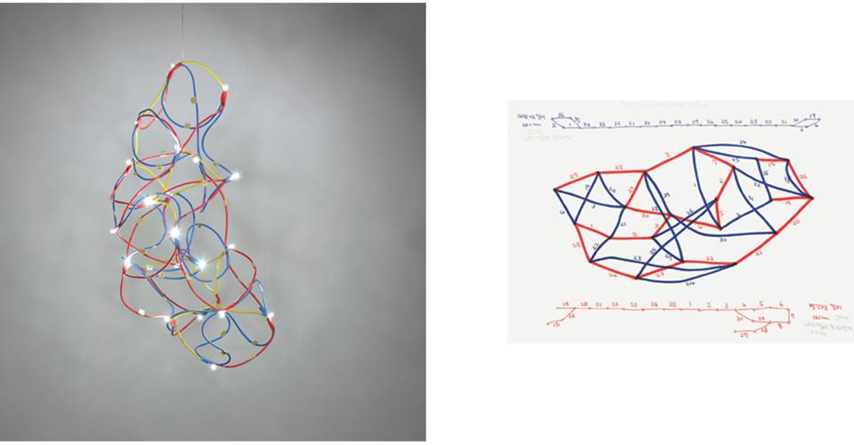 길이의 차이에 의한 뒤틀림 (Warping from Difference of Length), 2011, copper wire+LED, 30 × 30 × 50 cm