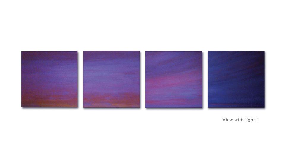 Beyond the Sunset, 2011, acrylic on wood panel, 46 x 46 cm each