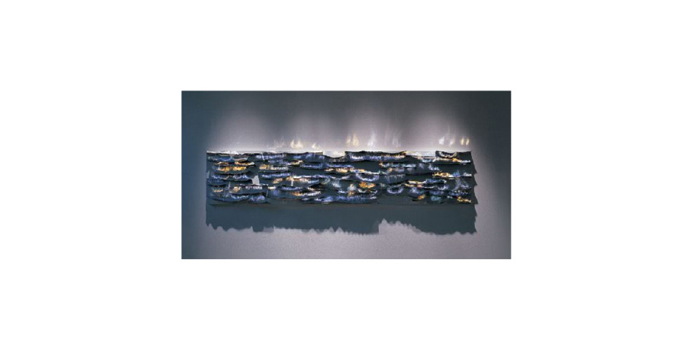 Kwon, Yong-Rae, Flowing Road, 2008, stainless steel on canvas, 40 x 200 cm