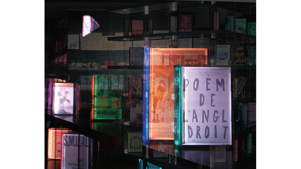 Space of Text in Lighting Books, 2009, 3D lenticular mounted on aluminum, 120 x 88 cm