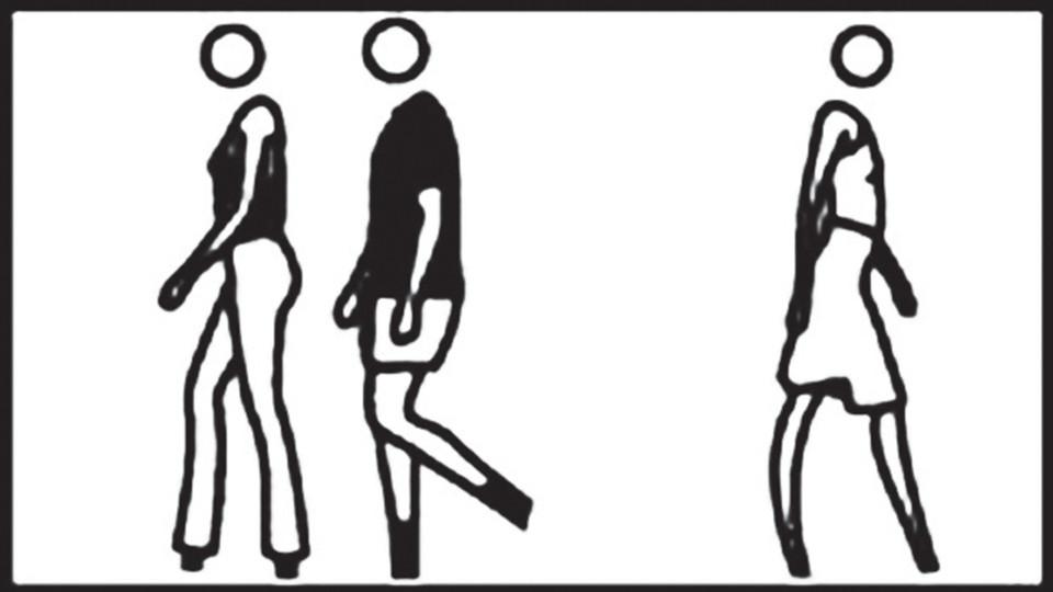 Julian Opie, People Walking, 2007, computer film, 52'' LCD screen, PC, 118 x 77 x 20 cm