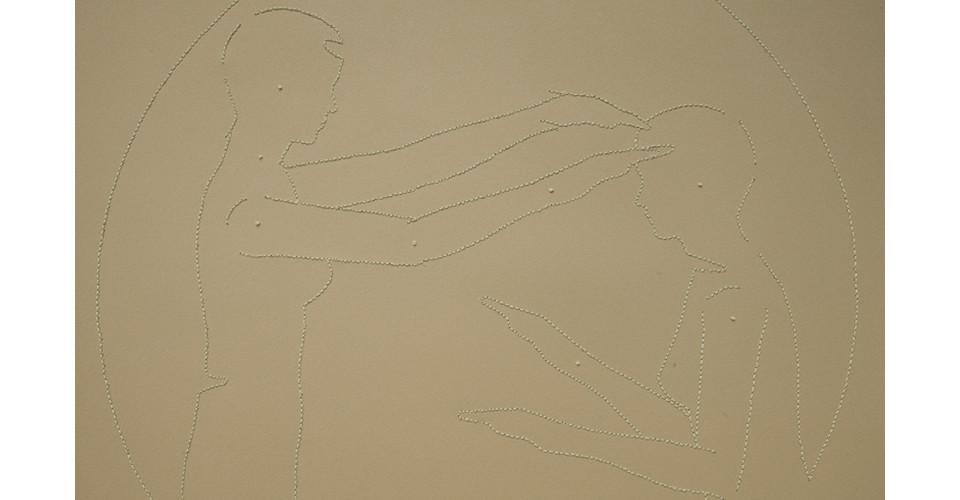 Detail of defense mechanism (1), 2012, embroidery floss, rag paper (57 x 77 cm), rag board (100 x 70 cm), grommets, 100 x 79 cm