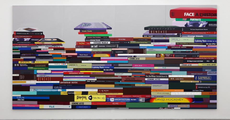 The Pile of Books-Horizontal typeⅡ, 2014, acrylic on canvas, LED lighting, 320 x 640 cm