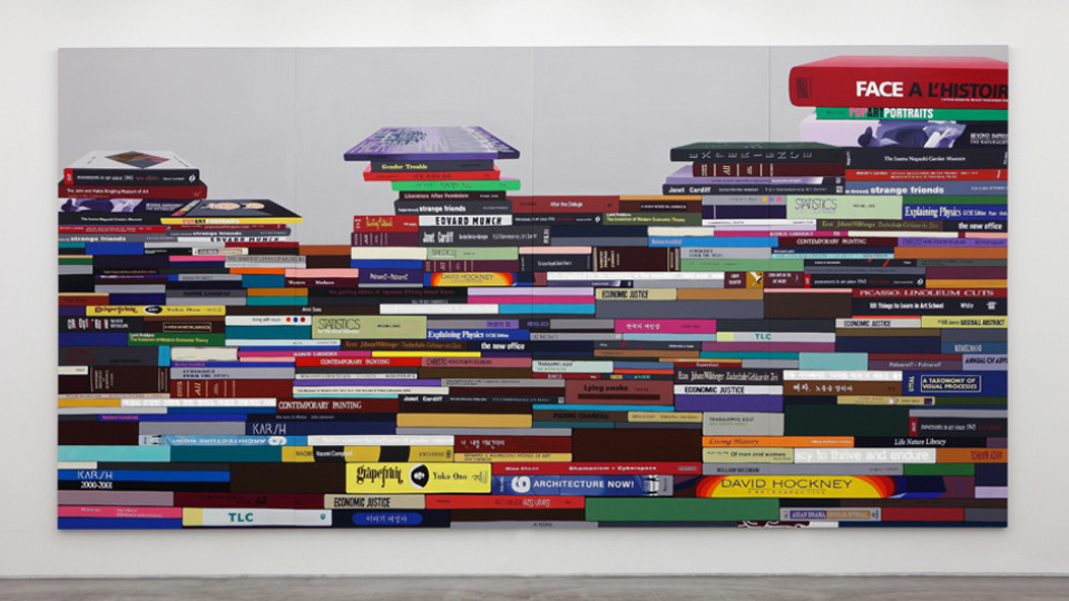 The Pile of Books-Horizontal typeⅡ, 2014, acrylic on canvas, LED lighting, 320 x 640 cm