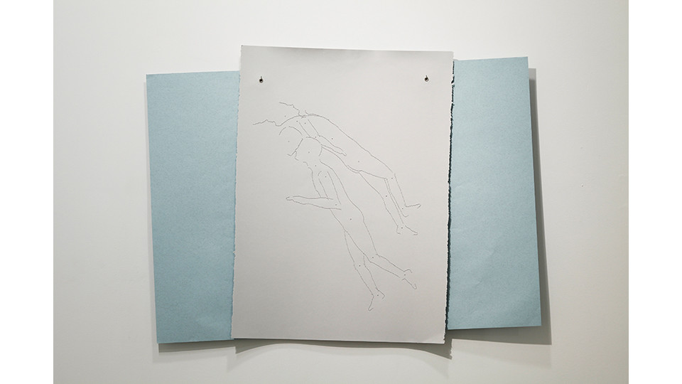 birthday, 2012, embroidery floss, 2 sheets rag paper (76 x 56 cm-gray; 70 x 100 cm-blue), grommets, 80 x 103 cm