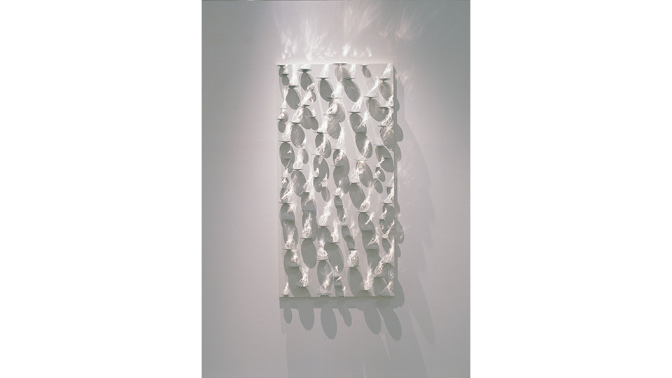 High or Low-Light, 2006, stainless steel on canvas, 140 x 70 cm