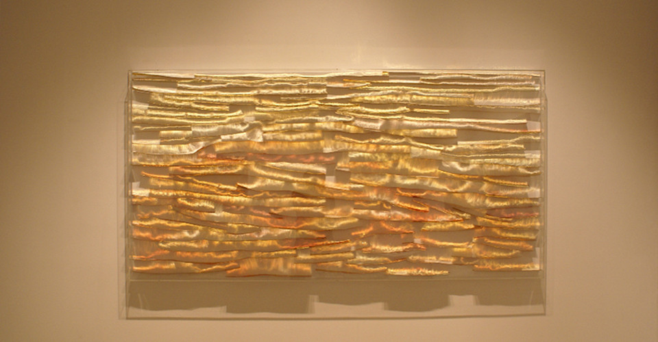From Light to Light, 2008, stainless steel on canvas, 92 x 182 cm