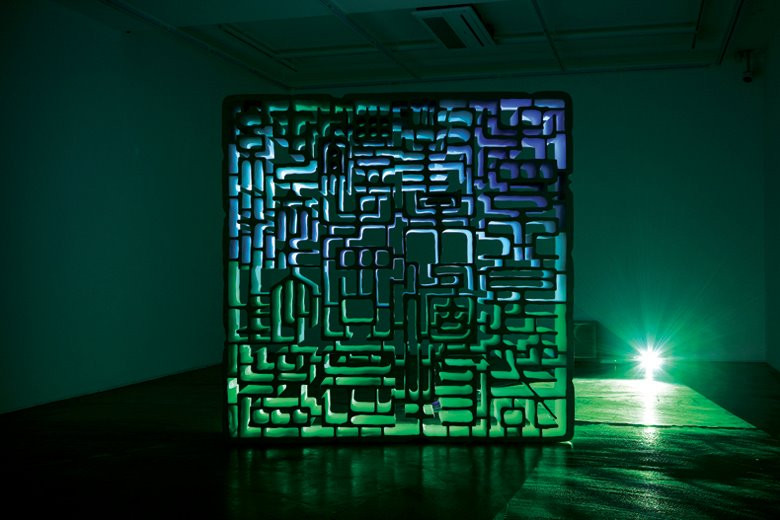 Absolute Seeing, 2012, FRP structure, video projector, DVD, subwoofer, 200 x 200 x 38.5 cm