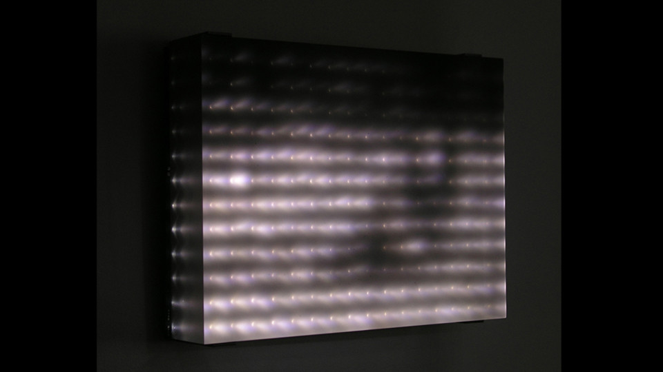 Jim Campbell, Reconstruction No.4, 2005, custom electronics, LED panel, cast resin screen, 26 x 37 x 9 cm