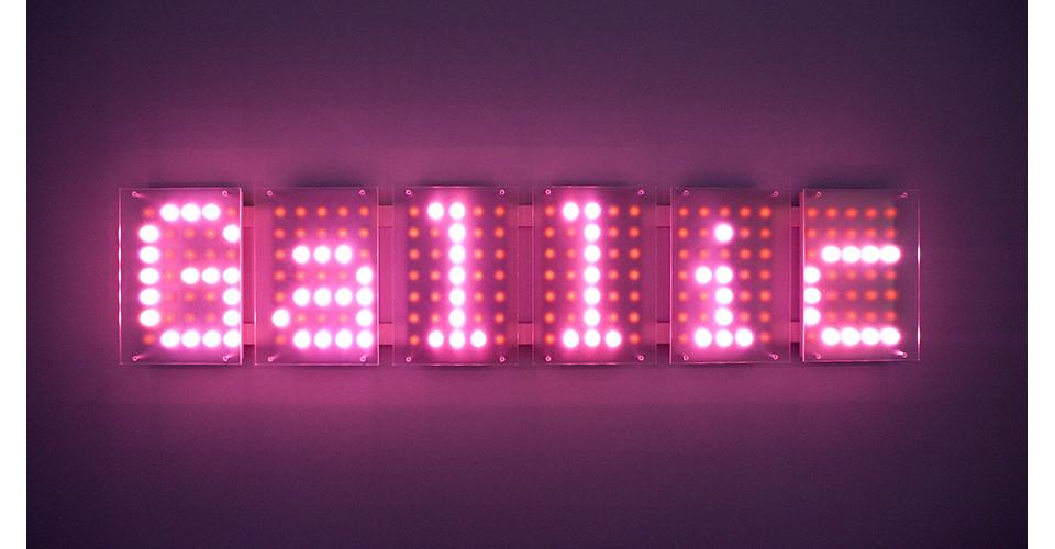 Lolita 6, 2009, color LEDs, acrylic, 147 x 21.5 cm, edition of 4