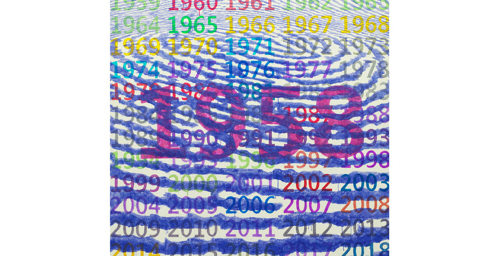 Light Lines and Numbers_#2180105_2018_acrylic&phosphorescent pigment on canvas_137 x 137 cm