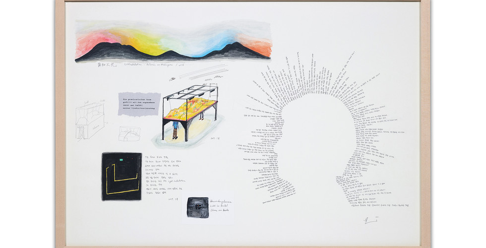 Changwon Lee, Untitled Sketch & Notes, 2017, pencil and watercolor on paper, 56.5x80cm